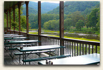 Enjoy your meals out on our patio overlooking Greenbrier River!
